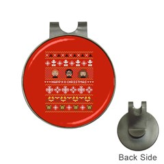 Merry Nerdmas! Ugly Christma Red Background Hat Clips with Golf Markers