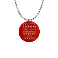 Merry Nerdmas! Ugly Christma Red Background Button Necklaces
