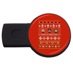 Merry Nerdmas! Ugly Christma Red Background USB Flash Drive Round (4 GB)