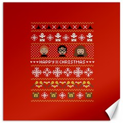 Merry Nerdmas! Ugly Christma Red Background Canvas 12  x 12