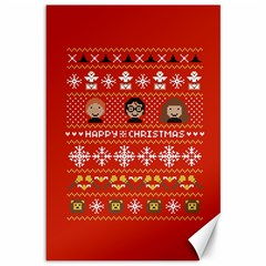 Merry Nerdmas! Ugly Christma Red Background Canvas 12  x 18