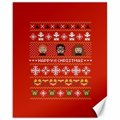 Merry Nerdmas! Ugly Christma Red Background Canvas 16  x 20
