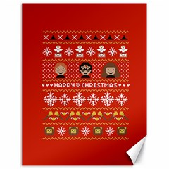 Merry Nerdmas! Ugly Christma Red Background Canvas 18  x 24
