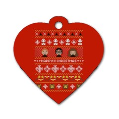 Merry Nerdmas! Ugly Christma Red Background Dog Tag Heart (One Side)