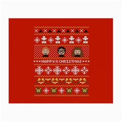 Merry Nerdmas! Ugly Christma Red Background Small Glasses Cloth (2-Side)