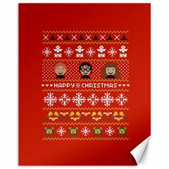 Merry Nerdmas! Ugly Christma Red Background Canvas 11  x 14