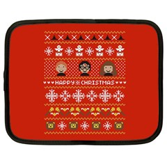 Merry Nerdmas! Ugly Christma Red Background Netbook Case (Large)
