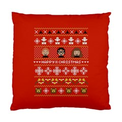 Merry Nerdmas! Ugly Christma Red Background Standard Cushion Case (One Side)
