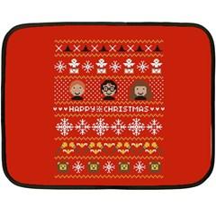 Merry Nerdmas! Ugly Christma Red Background Double Sided Fleece Blanket (Mini)