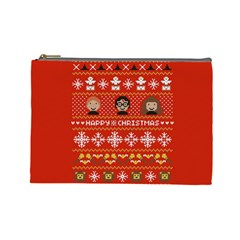 Merry Nerdmas! Ugly Christma Red Background Cosmetic Bag (Large)