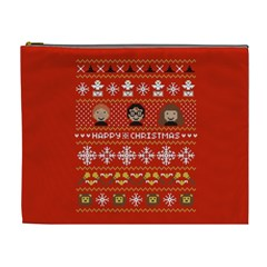 Merry Nerdmas! Ugly Christma Red Background Cosmetic Bag (xl)