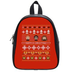 Merry Nerdmas! Ugly Christma Red Background School Bags (Small)
