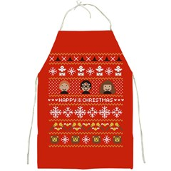 Merry Nerdmas! Ugly Christma Red Background Full Print Aprons