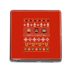 Merry Nerdmas! Ugly Christma Red Background Memory Card Reader (square)
