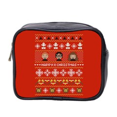 Merry Nerdmas! Ugly Christma Red Background Mini Toiletries Bag 2 Side
