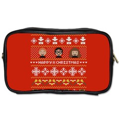 Merry Nerdmas! Ugly Christma Red Background Toiletries Bags