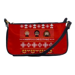 Merry Nerdmas! Ugly Christma Red Background Shoulder Clutch Bags