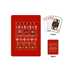 Merry Nerdmas! Ugly Christma Red Background Playing Cards (Mini)
