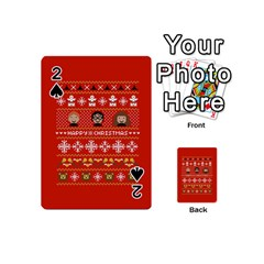 Merry Nerdmas! Ugly Christma Red Background Playing Cards 54 (mini)