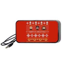 Merry Nerdmas! Ugly Christma Red Background Portable Speaker (Black)
