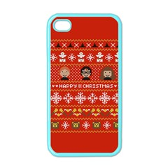 Merry Nerdmas! Ugly Christma Red Background Apple Iphone 4 Case (color)