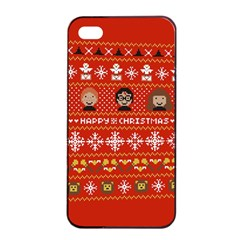 Merry Nerdmas! Ugly Christma Red Background Apple Iphone 4/4s Seamless Case (black)