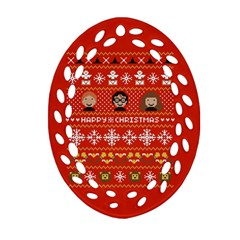 Merry Nerdmas! Ugly Christma Red Background Oval Filigree Ornament (2 Side)