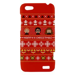 Merry Nerdmas! Ugly Christma Red Background HTC One V Hardshell Case