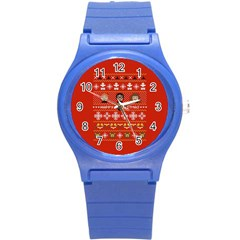 Merry Nerdmas! Ugly Christma Red Background Round Plastic Sport Watch (s)