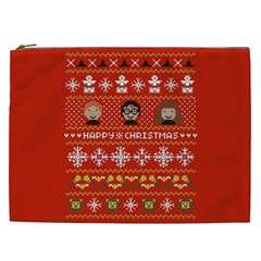Merry Nerdmas! Ugly Christma Red Background Cosmetic Bag (xxl)