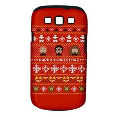 Merry Nerdmas! Ugly Christma Red Background Samsung Galaxy S III Classic Hardshell Case (PC+Silicone)