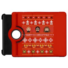 Merry Nerdmas! Ugly Christma Red Background Kindle Fire HD Flip 360 Case