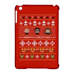 Merry Nerdmas! Ugly Christma Red Background Apple iPad Mini Hardshell Case (Compatible with Smart Cover)