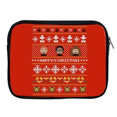 Merry Nerdmas! Ugly Christma Red Background Apple iPad 2/3/4 Zipper Cases
