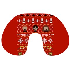 Merry Nerdmas! Ugly Christma Red Background Travel Neck Pillows