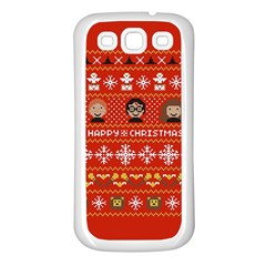 Merry Nerdmas! Ugly Christma Red Background Samsung Galaxy S3 Back Case (White)