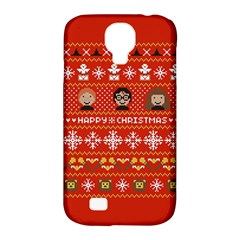 Merry Nerdmas! Ugly Christma Red Background Samsung Galaxy S4 Classic Hardshell Case (pc+silicone)