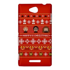 Merry Nerdmas! Ugly Christma Red Background Sony Xperia C (S39H)