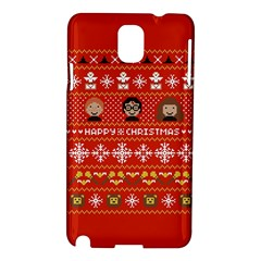Merry Nerdmas! Ugly Christma Red Background Samsung Galaxy Note 3 N9005 Hardshell Case