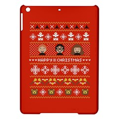 Merry Nerdmas! Ugly Christma Red Background iPad Air Hardshell Cases