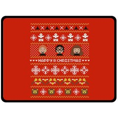Merry Nerdmas! Ugly Christma Red Background Double Sided Fleece Blanket (large)