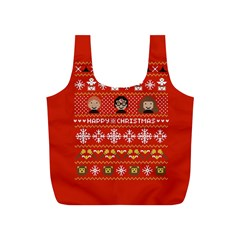 Merry Nerdmas! Ugly Christma Red Background Full Print Recycle Bags (S)