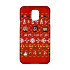 Merry Nerdmas! Ugly Christma Red Background Samsung Galaxy S5 Hardshell Case