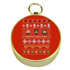 Merry Nerdmas! Ugly Christma Red Background Gold Compasses