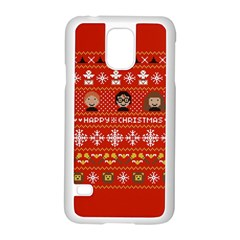 Merry Nerdmas! Ugly Christma Red Background Samsung Galaxy S5 Case (white)