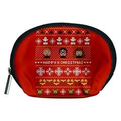 Merry Nerdmas! Ugly Christma Red Background Accessory Pouches (Medium)
