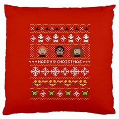 Merry Nerdmas! Ugly Christma Red Background Large Flano Cushion Case (Two Sides)