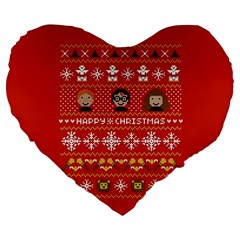 Merry Nerdmas! Ugly Christma Red Background Large 19  Premium Flano Heart Shape Cushions