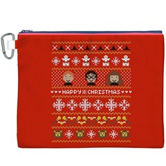 Merry Nerdmas! Ugly Christma Red Background Canvas Cosmetic Bag (XXXL)
