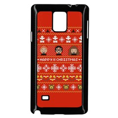 Merry Nerdmas! Ugly Christma Red Background Samsung Galaxy Note 4 Case (Black)